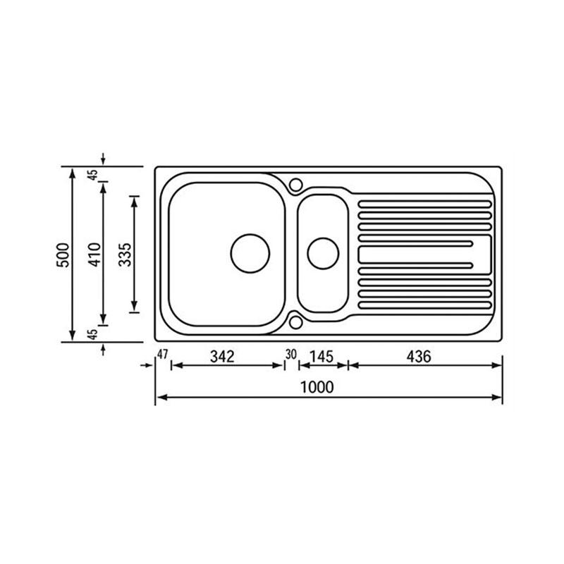 Νεροχύτης ανοξείδωτος σαγρέ αντιστρεφόμενος Sanitec Atlantic 10695 1,5B 1D 100x50cm