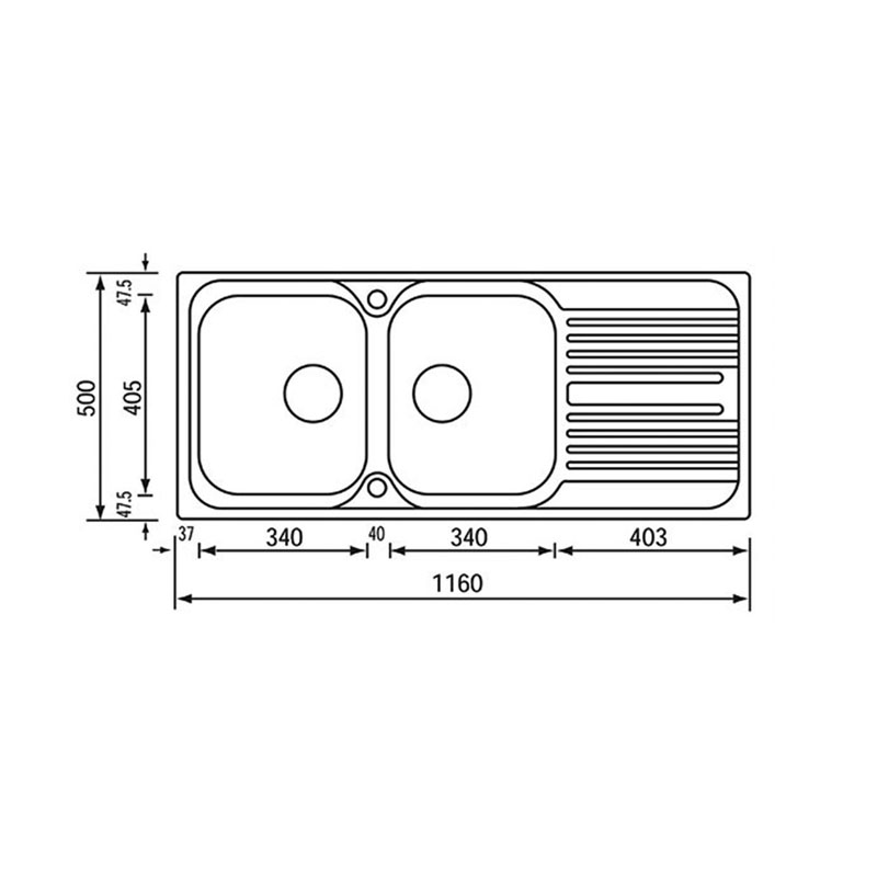 Νεροχύτης ανοξείδωτος σαγρέ αντιστρεφόμενος Sanitec Atlanitc 10697 2B 1D 116x50cm