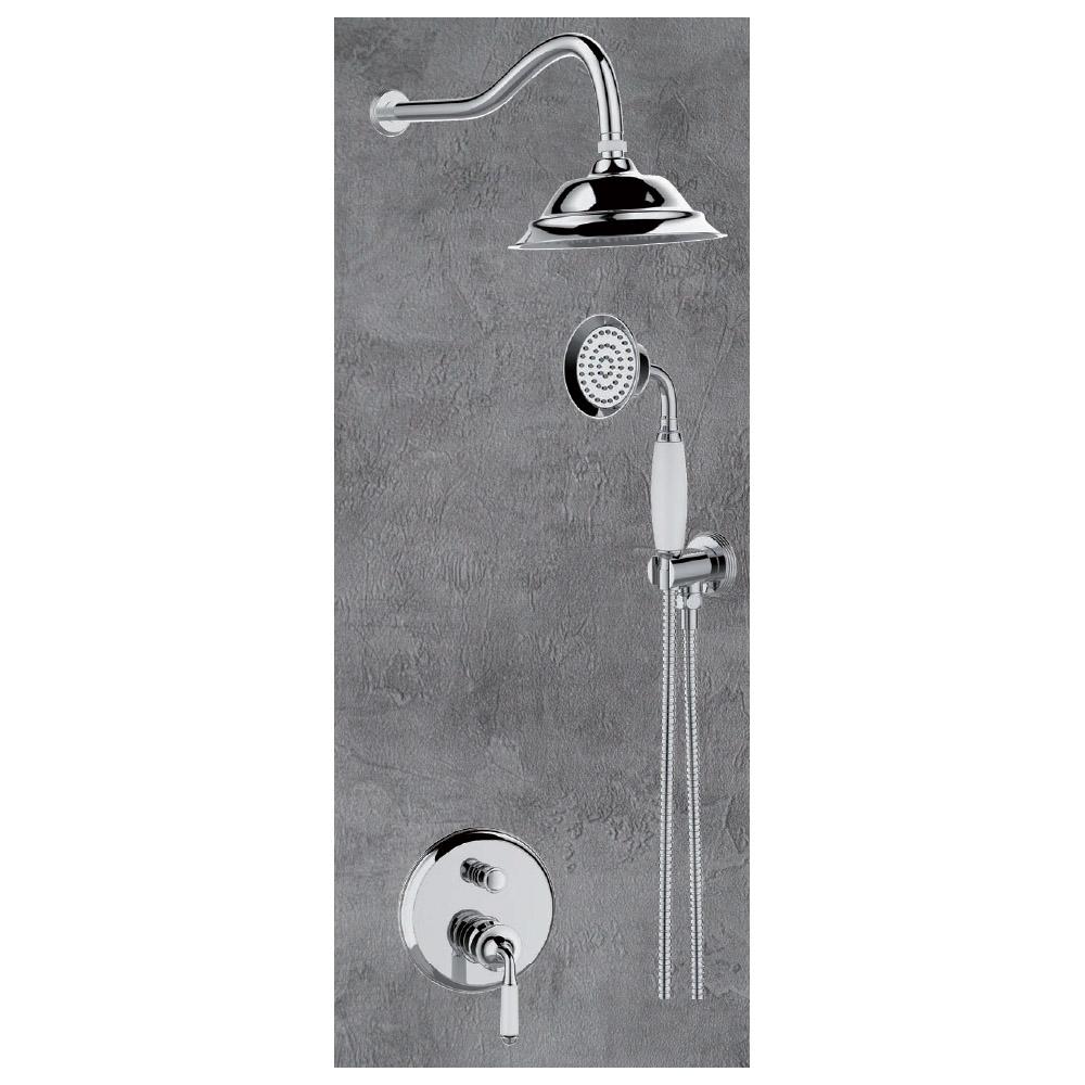 Εντοιχιζόμενος μίκτης ντούζ ρετρο Domistyle Victoria 2 οδών με σταθερή κεφαλή και τηλέφωνο