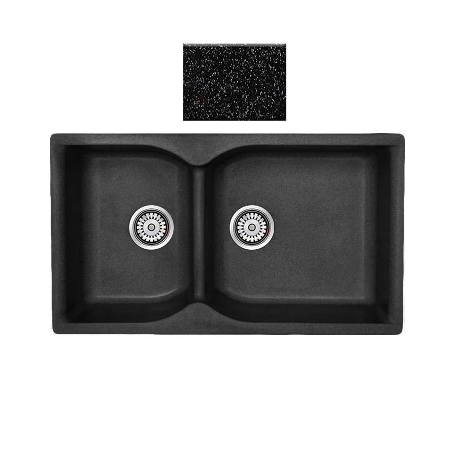 Νεροχύτης συνθετικού γρανίτη αντιστρεφόμενος,Sanitec Eclectic 307 2B 92x51cm Granite Black