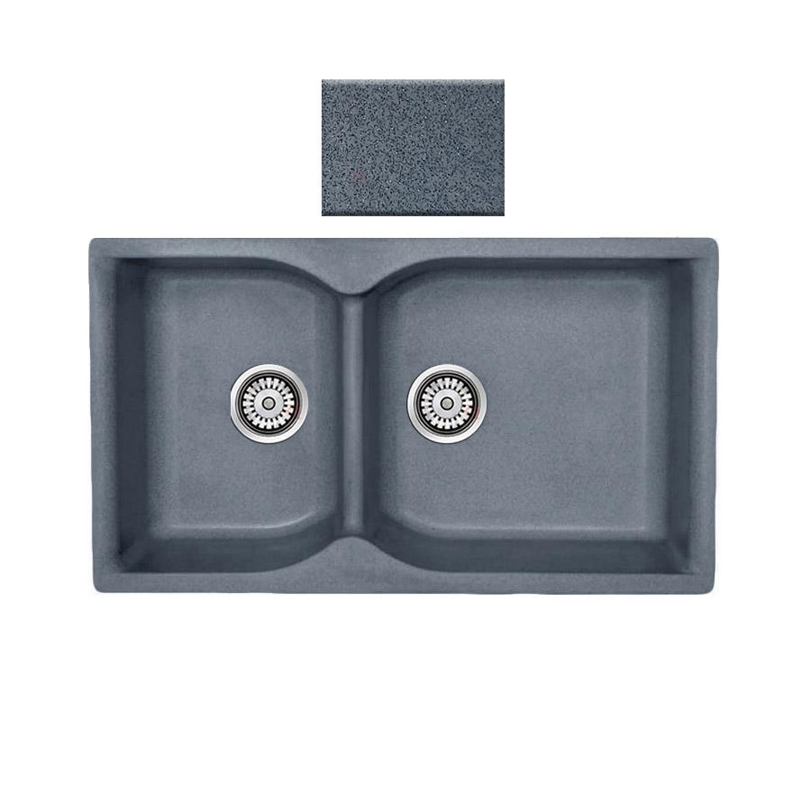 Νεροχύτης συνθετικού γρανίτη αντιστρεφόμενος,Sanitec Eclectic 307 2B 92x51cm Metallic Silver