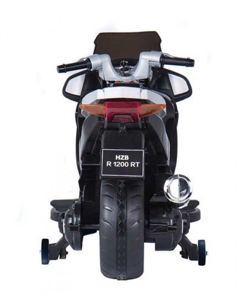 Ηλεκτροκίνητη παιδικη  μηχανή με ελαστικούς τροχούς   HZB-118 12v Λευκή