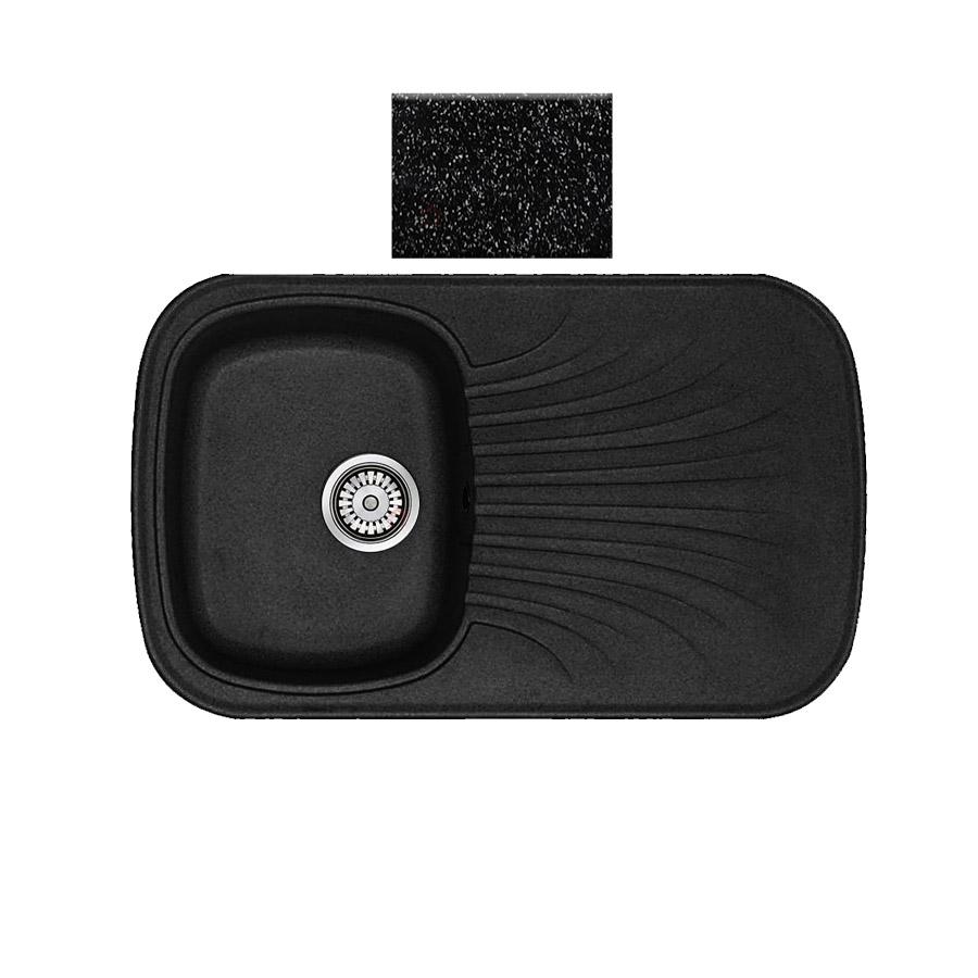 Νεροχύτης συνθετικού γρανίτη αντιστρεφόμενος Sanitec Premium 315 1B1D 82x50cm Granite Black