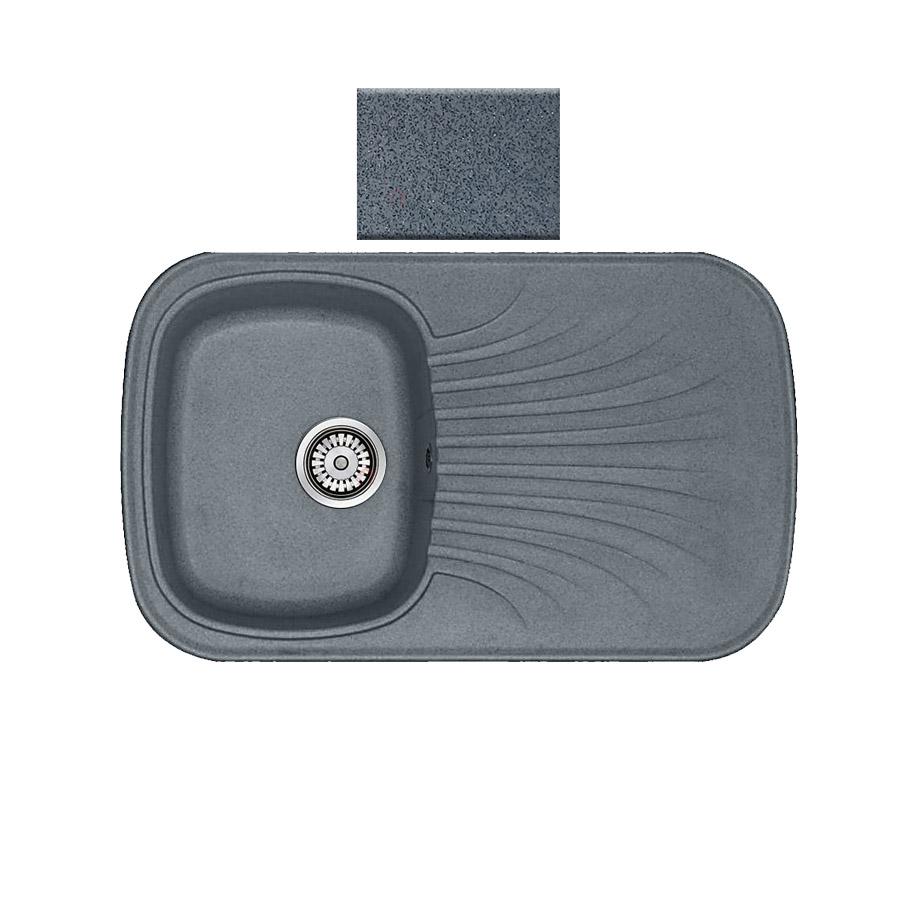 Νεροχύτης συνθετικού γρανίτη αντιστρεφόμενος Sanitec Premium 315 1B1D 82x50cm Metallic Silver