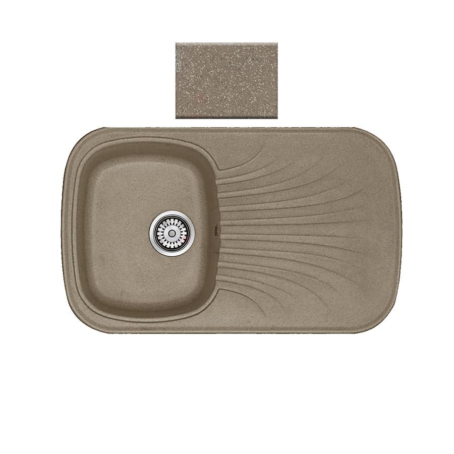 Νεροχύτης συνθετικού γρανίτη αντιστρεφόμενος Sanitec Premium 315 1B1D 82x50cm Granite Taupe