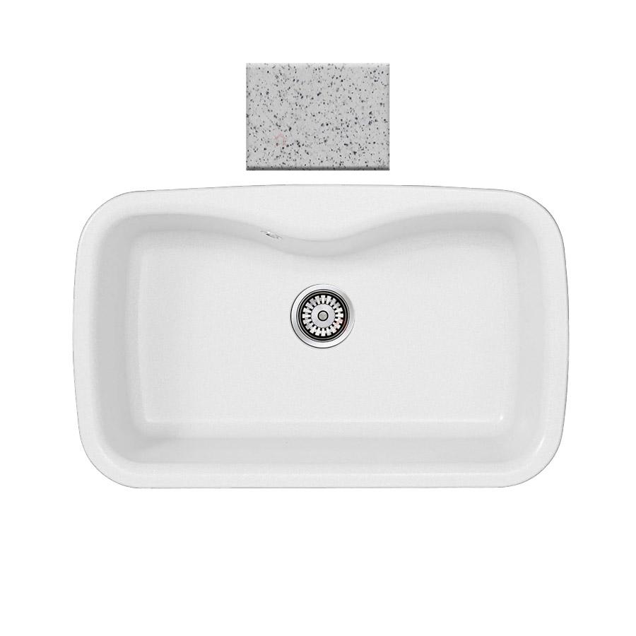 Νεροχύτης συνθετικού γρανίτη Sanitec Silk 321 1B 83x51cm  Granite White