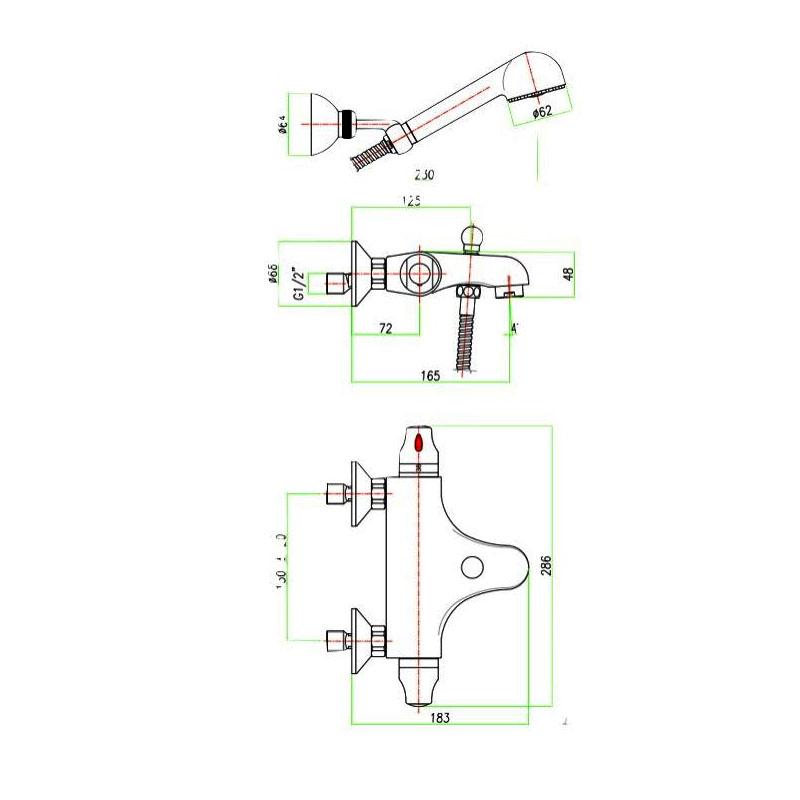 Μπαταρία Λουτρού Θερμοστατική Fiore Termoty 36CR0952