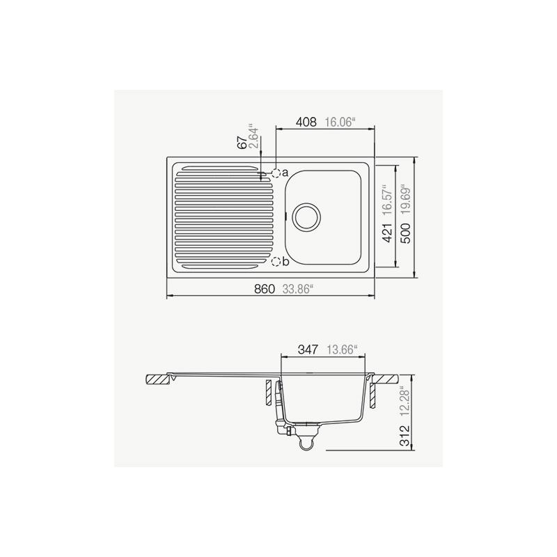 Νεροχύτης SCHOCK CRISTALITE Lithos D150 86x50