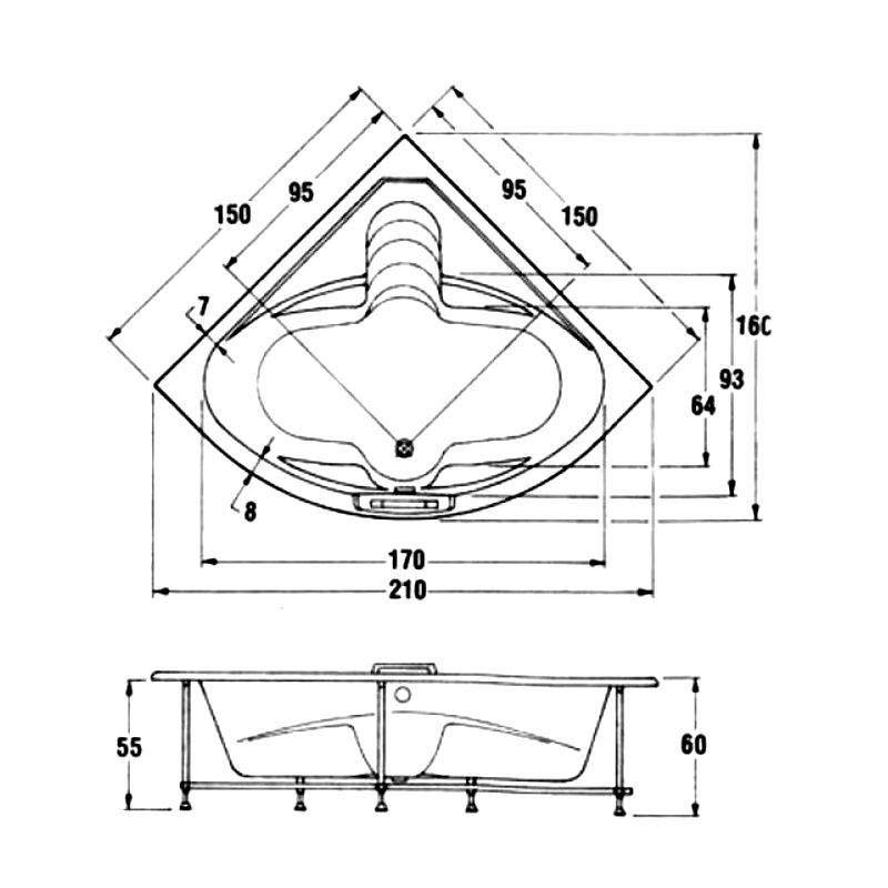 Ακρυλική Μπανιέρα Γωνιακή Sanitec Nataly 150 x 150 cm