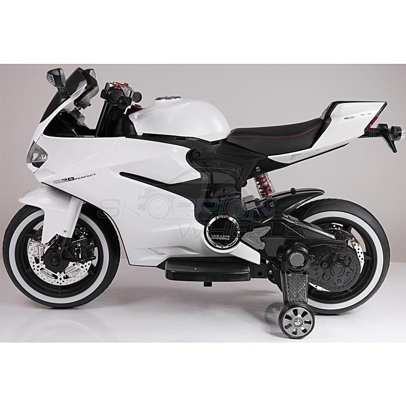 SkorpionWheels Ηλεκτροκίνητη παιδικη μοτοσυκλέτα / μηχανή τύπου Dukati 1999 12v Λευκή 5245016