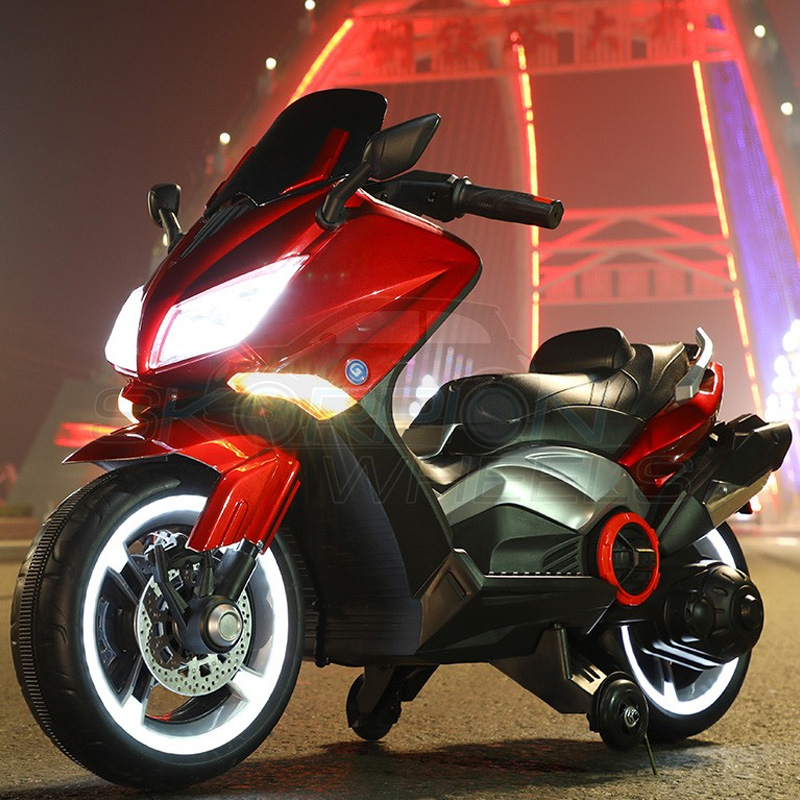 SkorpionWheels Ηλεκτροκίνητη παιδικη μοτοσυκλέτα / μηχανή τύπου Yamaha T max 12v Κόκκινη 5245091