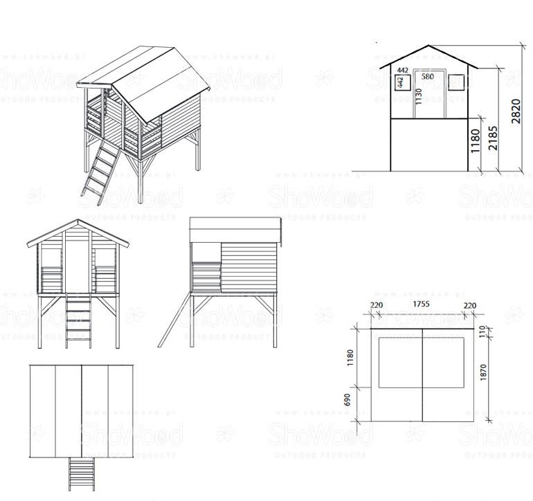 Ξύλινο Παιδικό Σπίτι ΤΟΜΠΙ υπερυψωμένο