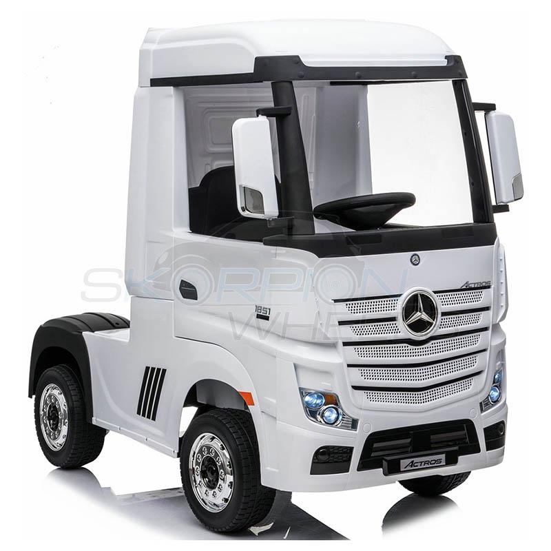 ScorpionWheels Ηλεκτροκίνητη Νταλίκα Mercedes Benz Actros Licenced  Λευκή 12v  με τηλ/τρόλ 5249058