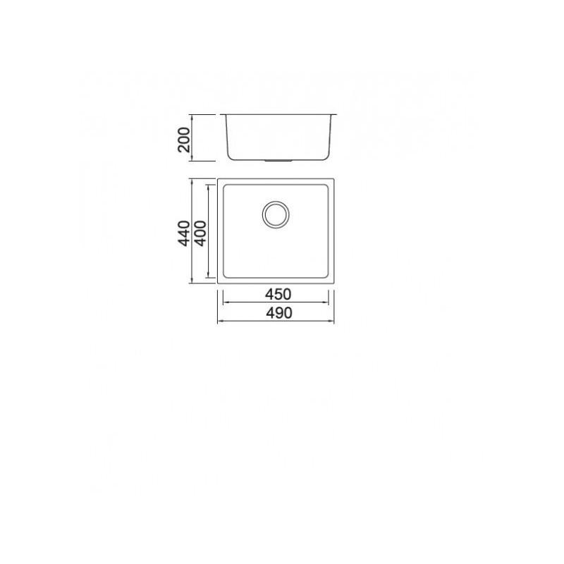 Νεροχύτης υποκαθήμενος Inox KARAG BL 794 49Χ44