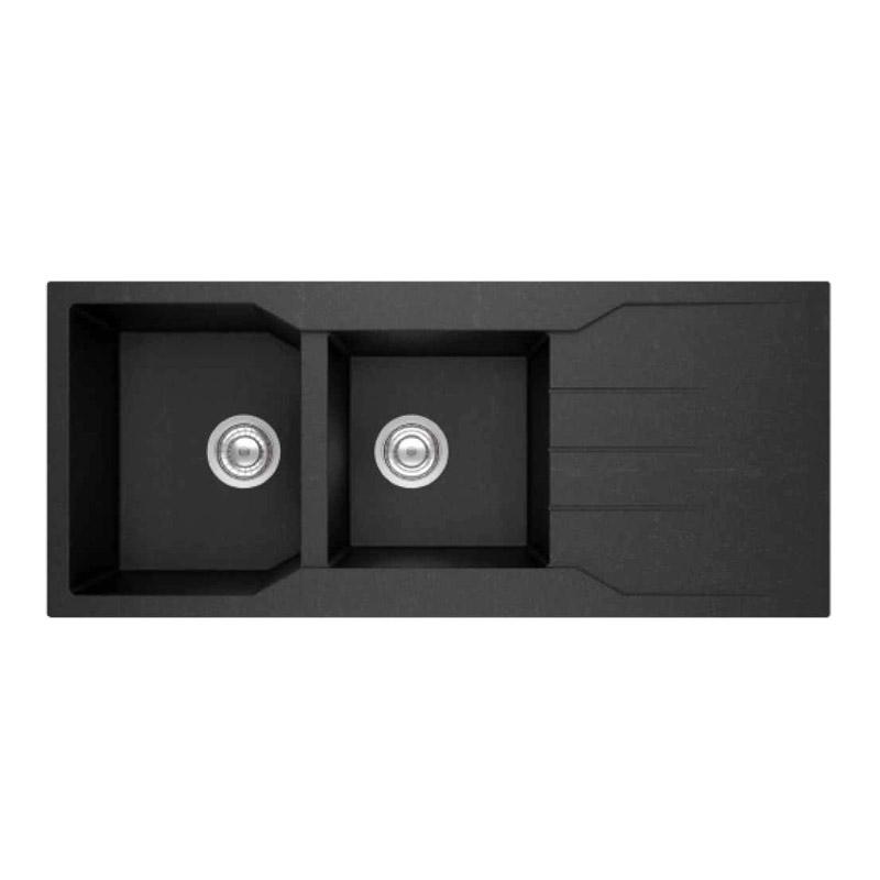 Νεροχύτης Γρανίτη Sanitec Ultra Granite 801 2B1D 116x50cm Μαύρος