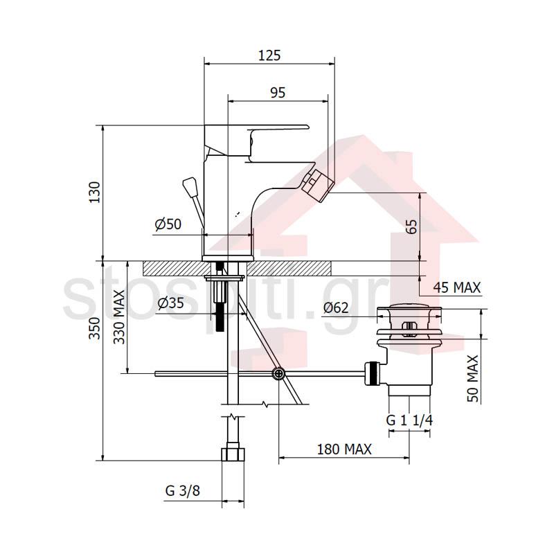 Μπαταρία Μπιντέ  Α/Β Χρωμέ Teorema Velvet 84011