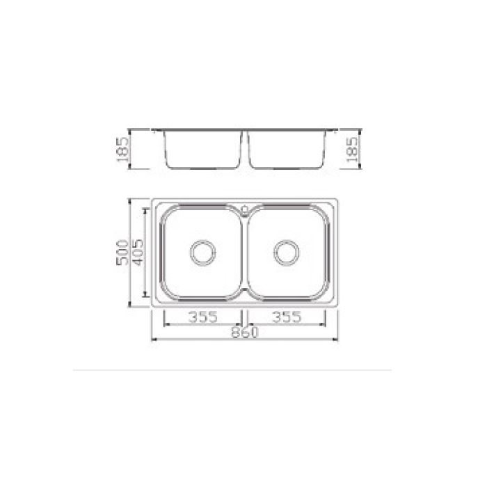 Νεροχύτης Inox KARAG BL898 86x50 (bl-888)