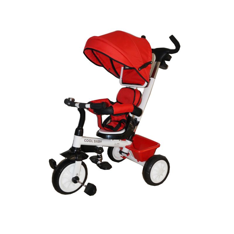 Παιδικό τρίκυκλο ποδήλατο με μπάρα καθοδήγησης και τέντα B315 Κόκκινο