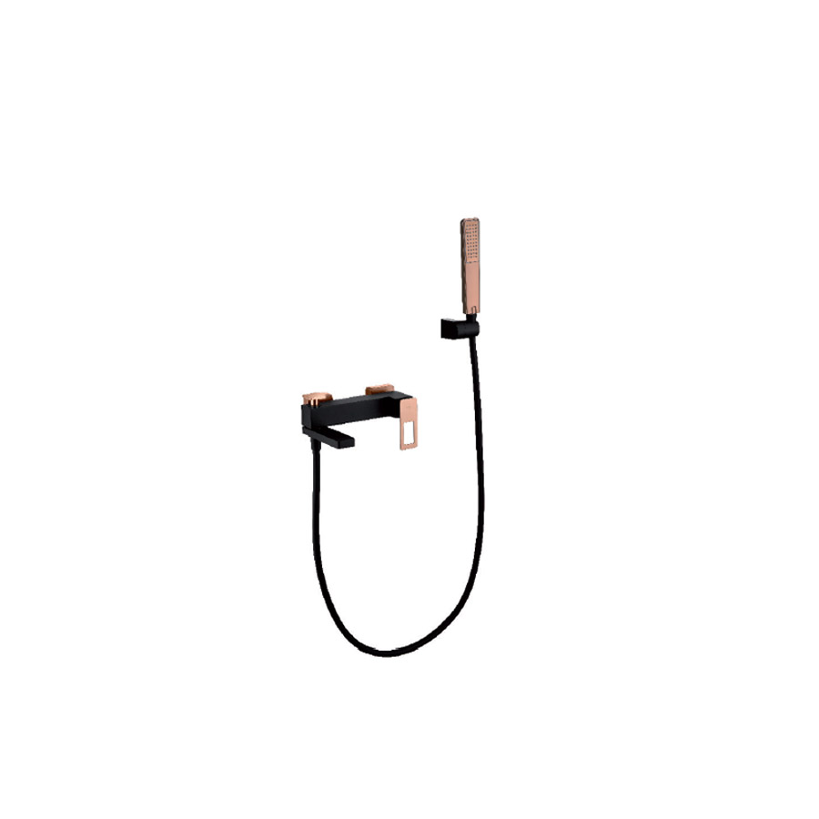 Μπαταρία Λουτρού Μαύρη/Ροζ Χρυσή με Τηλέφωνο Ντουζ IMEX Suecia