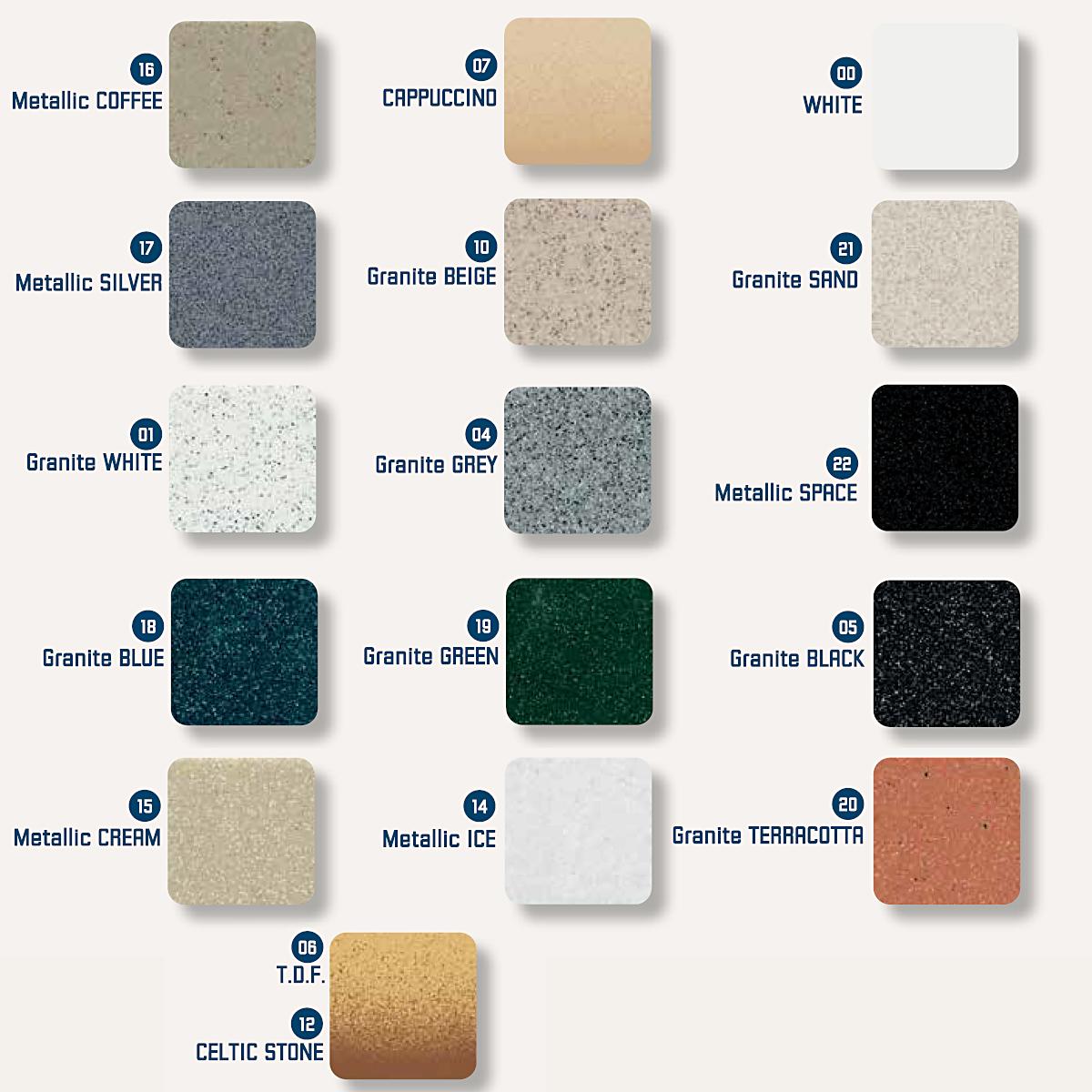 Νεροχύτης συνθετικού γρανίτη Sanitec Classic 338 1B 70x50cm 15 χρώματα