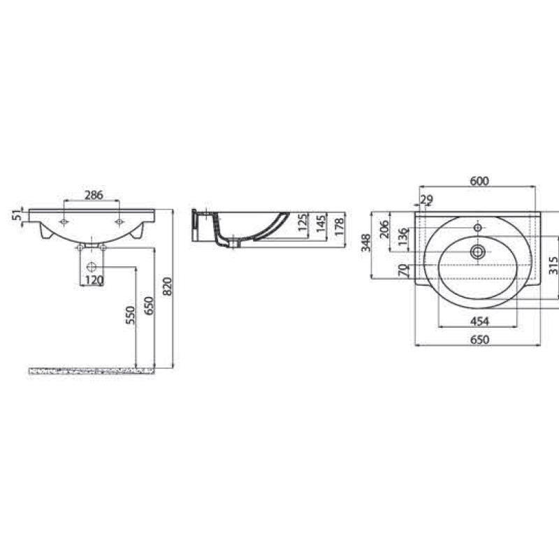 Νιπτήρας επίπλου 65x50 cm CREAVIT Smile ET065