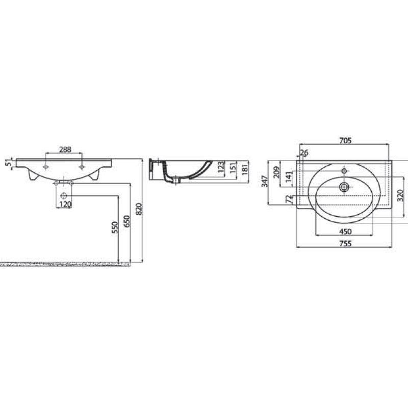 Νιπτήρας επίπλου 75x50 cm CREAVIT Smile