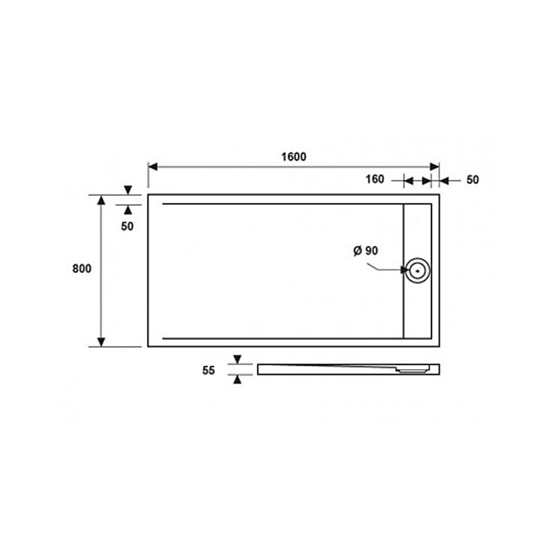 Ντουζιέρα Ακρυλική ορθογώνια Karag Element 5 80x160x5cm με Inox Κάλυμμα Βαλβίδας