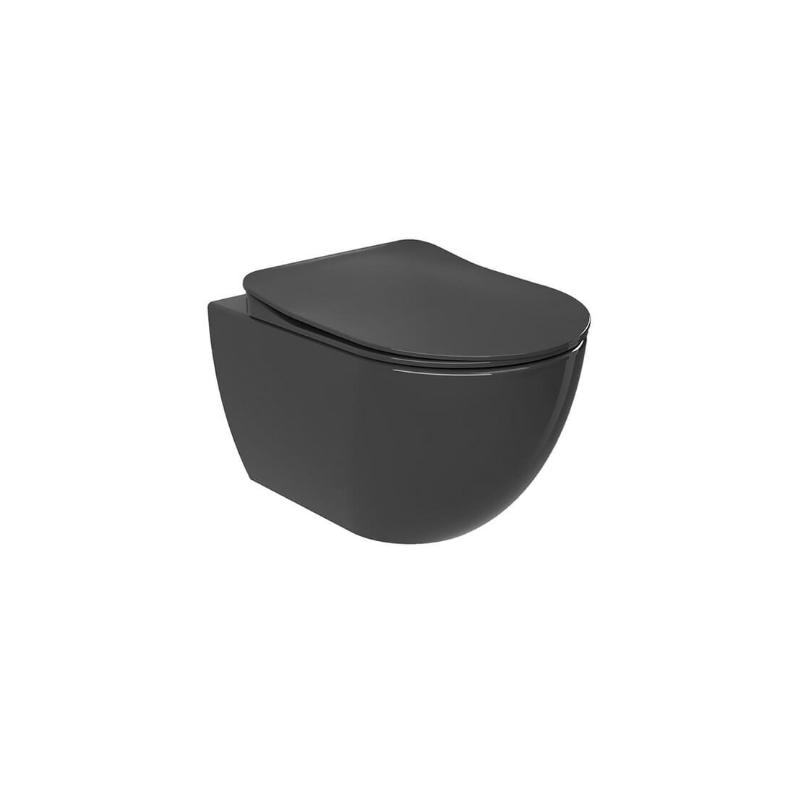 Λεκάνη Κρεμαστή Creavit Free Anthracite με κάλυμμα Soft Close FE320A