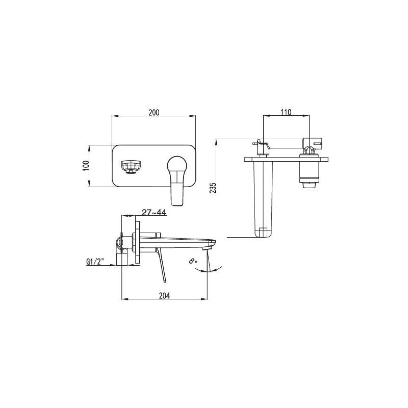Μπαταρία νιπτήρος εντοιχισμού λευκή ματ με ροζ χρυσό Praxis Andare WNW148073PH-RG