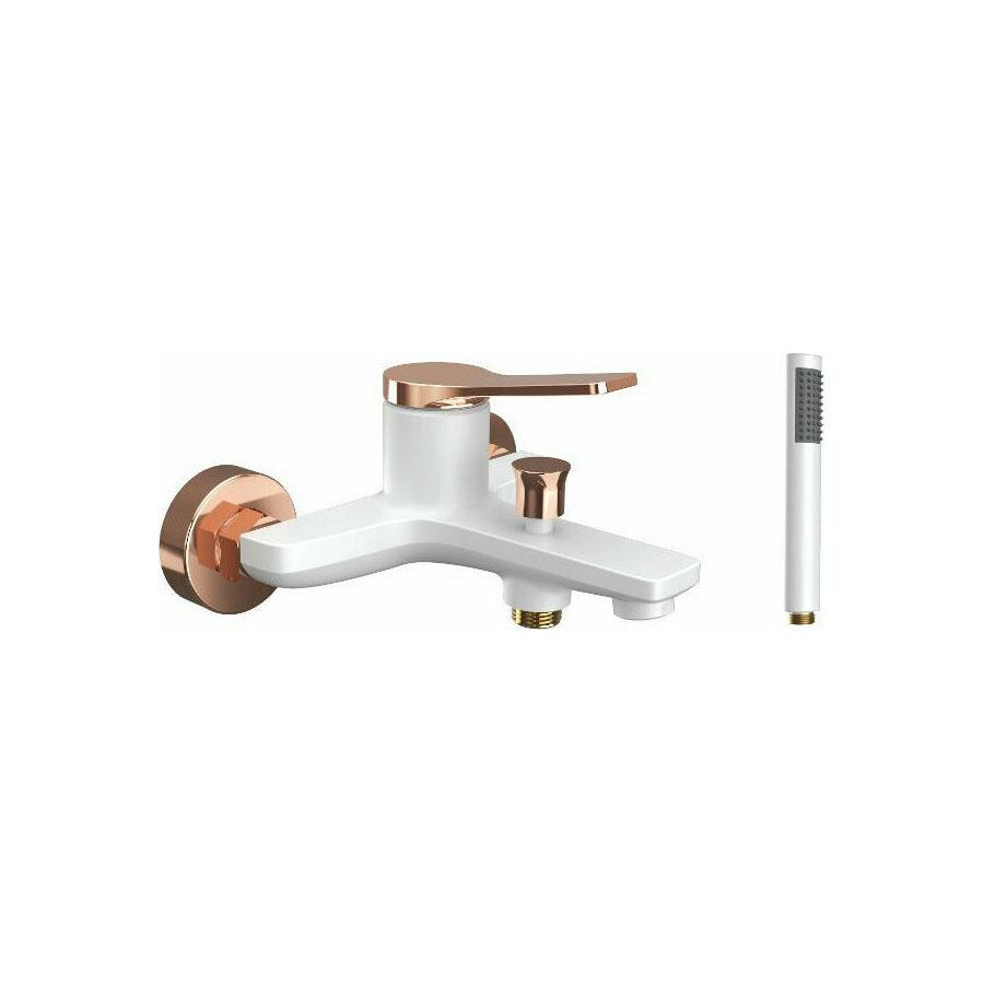 Μπαταρία λουτρού λευκή ματ με ροζ χρυσό Praxis Andare WNX238073PH-RG