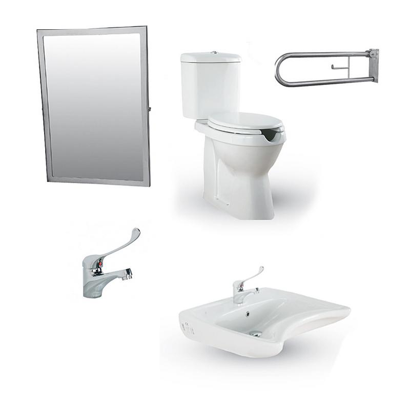 Σετ WC ΑΜΕΑ 1 Λεκάνη - Νιπτήρα -Καθρέφτη - Στήριγμα, για μπάνιο / WC CREAVIT