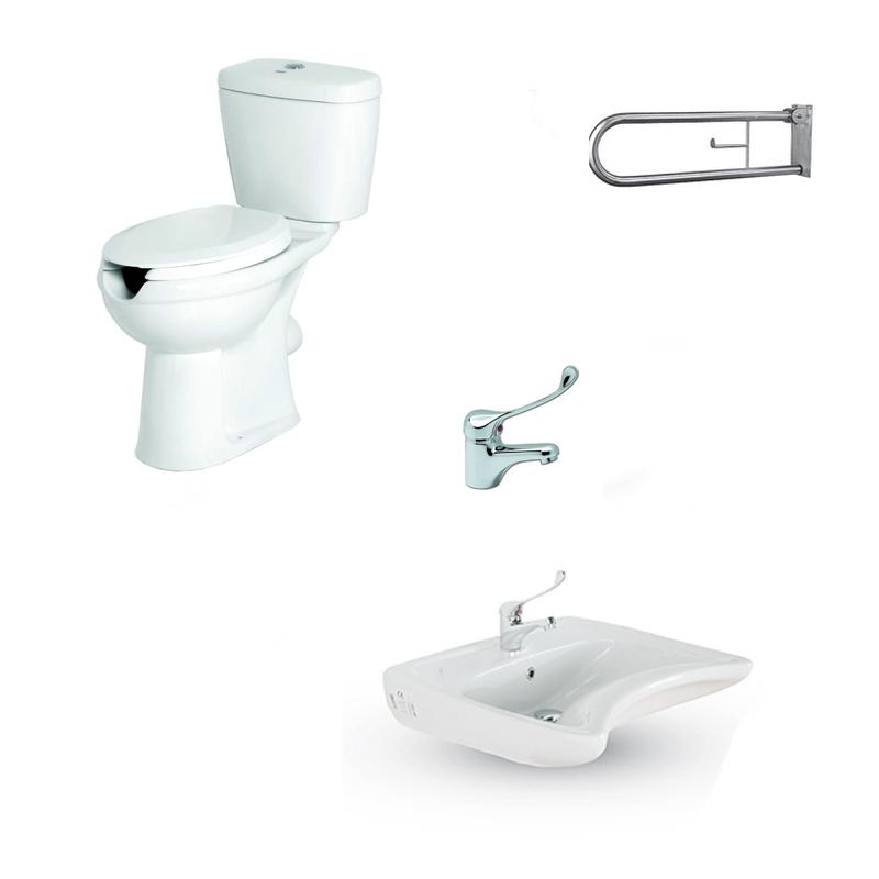 Σετ WC ΑΜΕΑ 4 Λεκάνη - Νιπτήρα /Μπαταρία - Στήριγμα, για μπάνιο / WC