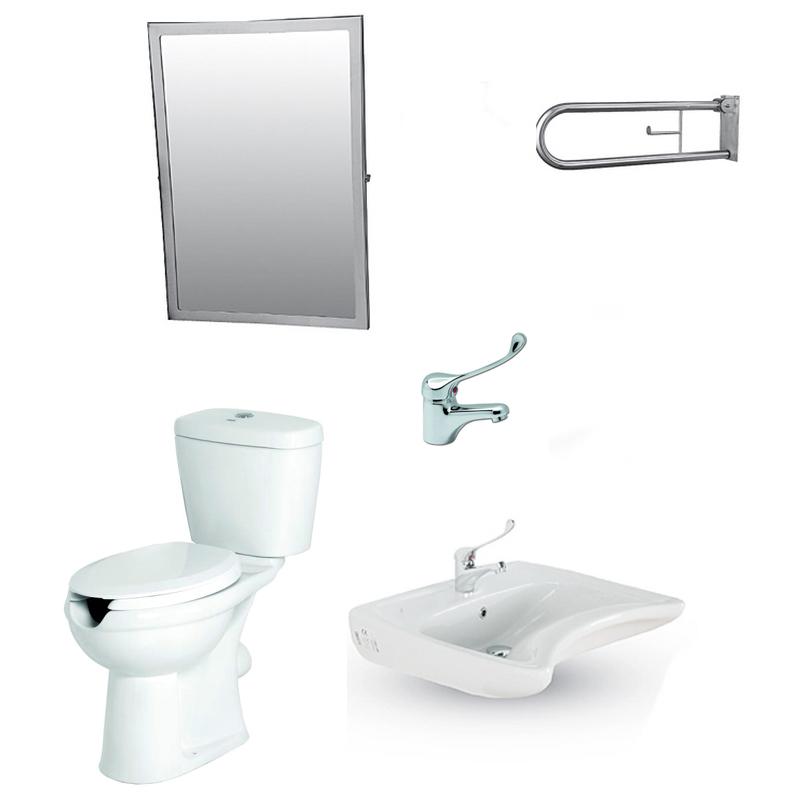 Σετ WC ΑΜΕΑ 5 Λεκάνη - Νιπτήρα -Καθρέφτη - Στήριγμα, για μπάνιο / WC