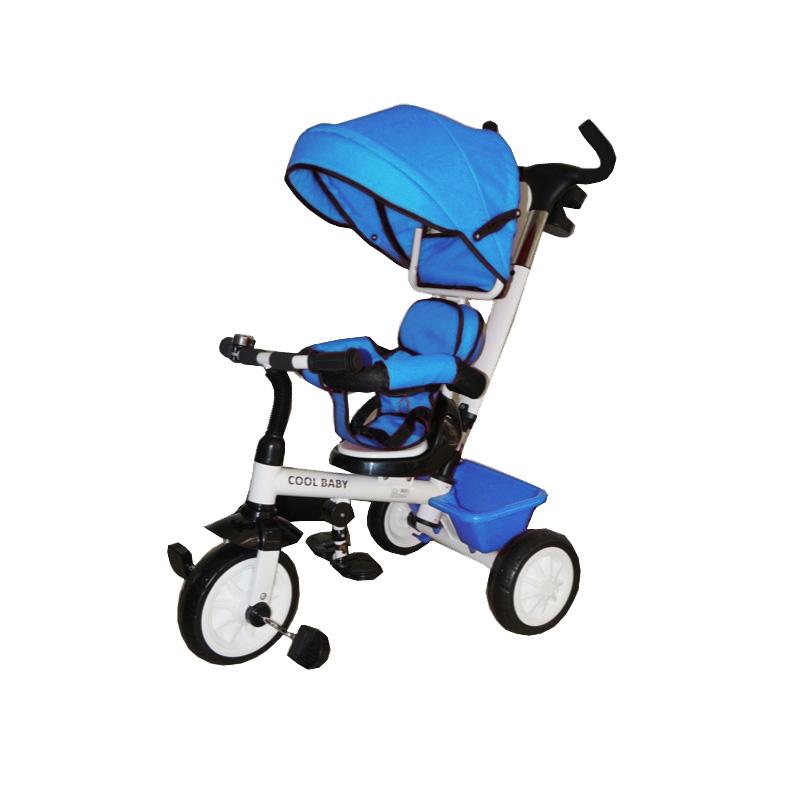 Παιδικό τρίκυκλο ποδήλατο με μπάρα καθοδήγησης και τέντα B315 Μπλε