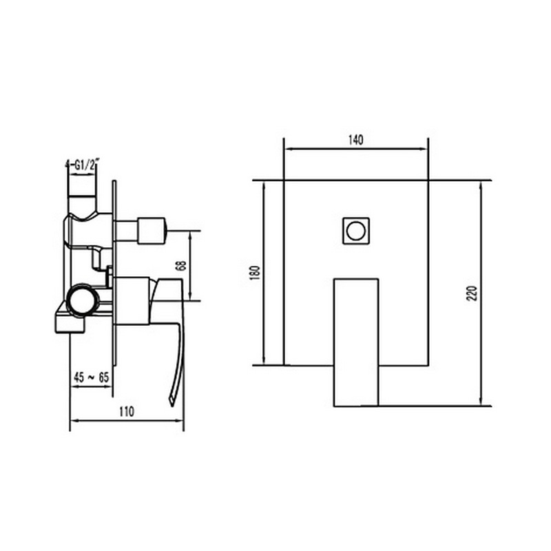 Εντοιχιζόμενο σετ ντούζ 2 εξόδων Praxis Ginko με κεφαλή Led 50x50