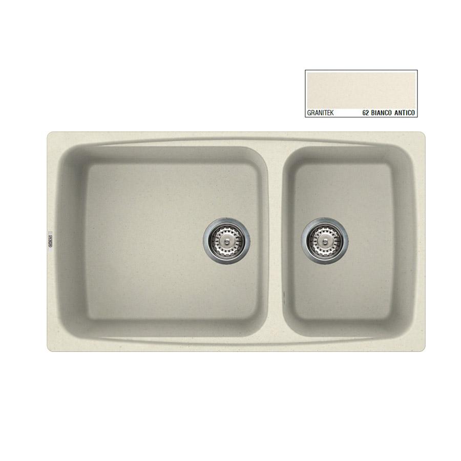 Νεροχύτης Γρανίτη ELLECI FOX 450 86x50 2B Granitek Bianco Antico