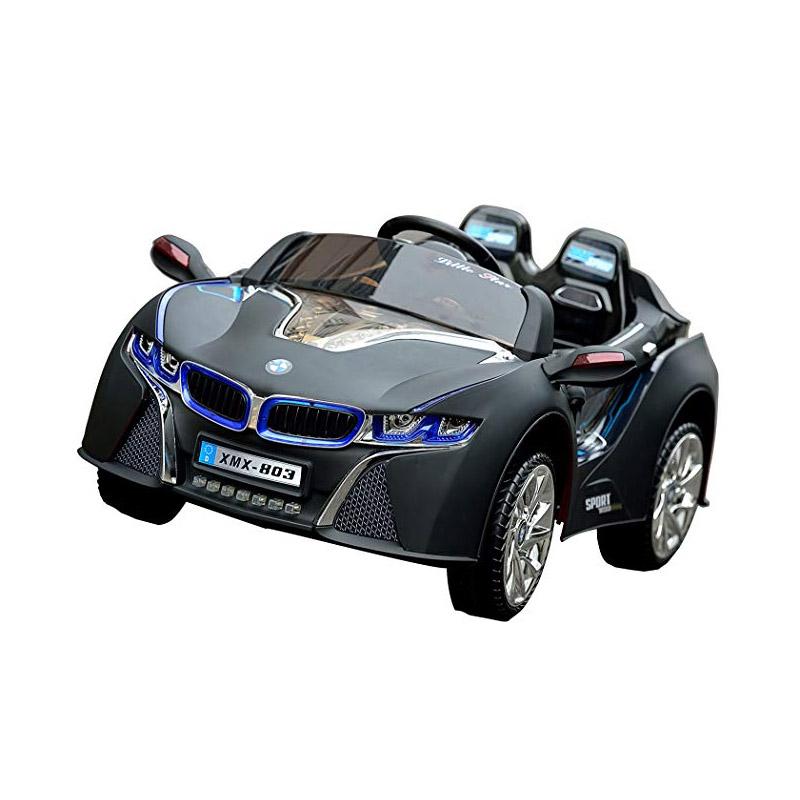 Ηλεκτροκίνητο παιδικό αυτοκίνητο τύπου BMW i8 Δερμάτινο κάθισμα 12v με τηλεκοντρόλ Μαύρο